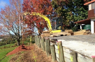 Retaining wall in need on rebuilding.